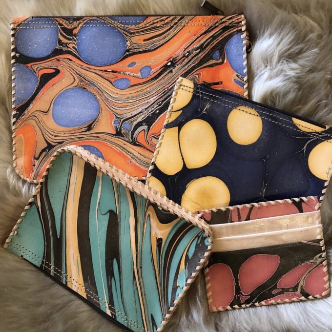 hand marbled leather accessories